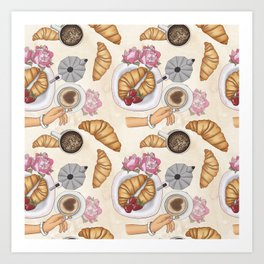 Good Morning Strawberries, Croissants And Coffee Pattern Art Print