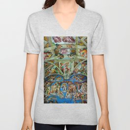 Spectacular Sistine Chapel Frescoes, Rome, Italy, 1985 Unisex V-Neck
