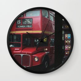 Red bus and a candy store - London Wall Clock