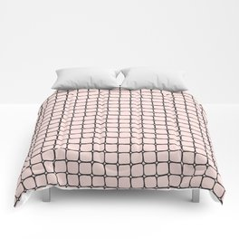 Back to School- Simple Grid Pattern - Black & Pink - Mix & Match with Simplicity of Life Comforters