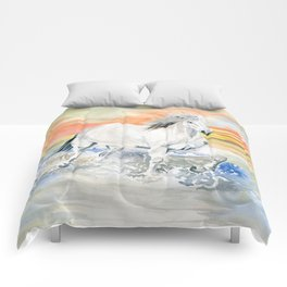 Wild White Horse at Sunset Comforters