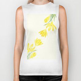 yellow botanical crocus watercolor Biker Tank