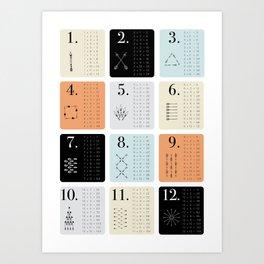 TIMES TABLE - ORANGE Art Print