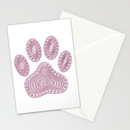 Abstract Pink Ink Dog Paw Print Stationery Cards