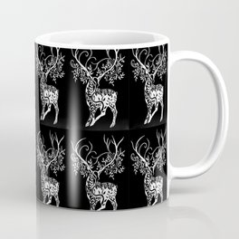 Deer Pattern in Black and white with Branchers for antlers Coffee Mug
