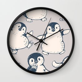 Monochrome seamless pattern with cute penguins. Hand-drawn illustration Wall Clock