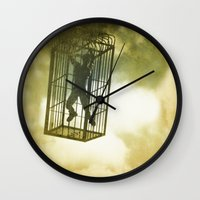 cage Wall Clocks featuring Cage by Azure Cricket