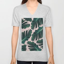 Tropical Blush Banana Leaves Dream #1 #decor #art #society6 Unisex V-Neck
