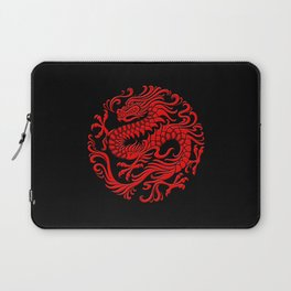 Traditional Red Chinese Dragon Circle Laptop Sleeve