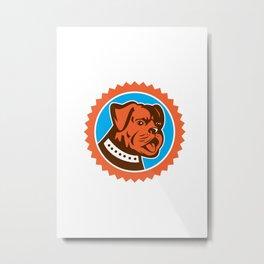Bulldog Dog Mongrel Head Mascot Rosette Metal Print