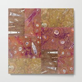 Ancient Seabed Collection Collage - Terracotta Brown Metal Print