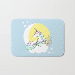 Believe in your dreams - Cute Unicorn in the clouds Bath Mat