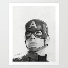Portrait Drawing of Capt. America Art Print