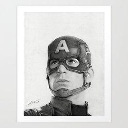 Portrait Drawing of Capt. America Art Print