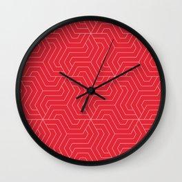 Rose madder - red - Modern Vector Seamless Pattern Wall Clock