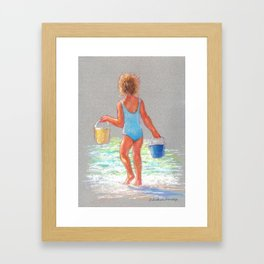 Beach Girl with Buckets Framed Art Print