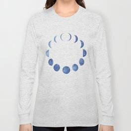 Blue Moon Phases | Watercolor Painting Long Sleeve T-shirt