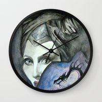 maleficent Wall Clocks featuring Maleficent by Giulia Colombo