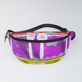 fork and spoon with splash painting texture abstract background in pink red yellow Fanny Pack