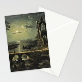 Classical Masterpiece 'A Ruined Gothic Church beside a River by Moonlight' by Sebastian Pether Stationery Cards