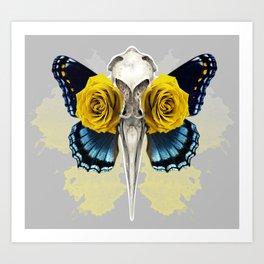 Bird skull and yellow roses Art Print