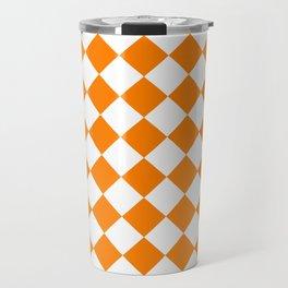 Diamonds - White and Orange Travel Mug