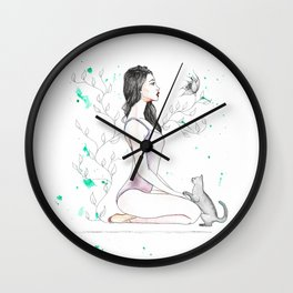 Yoga with her Cat Wall Clock