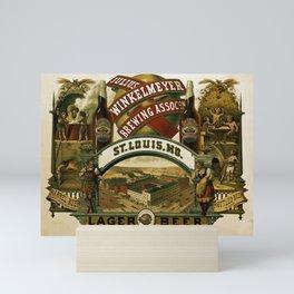 Vintage 1880 Julius Winkelmeyer Brewing Association Lithograph Wall Art Advertisement Mini Art Print