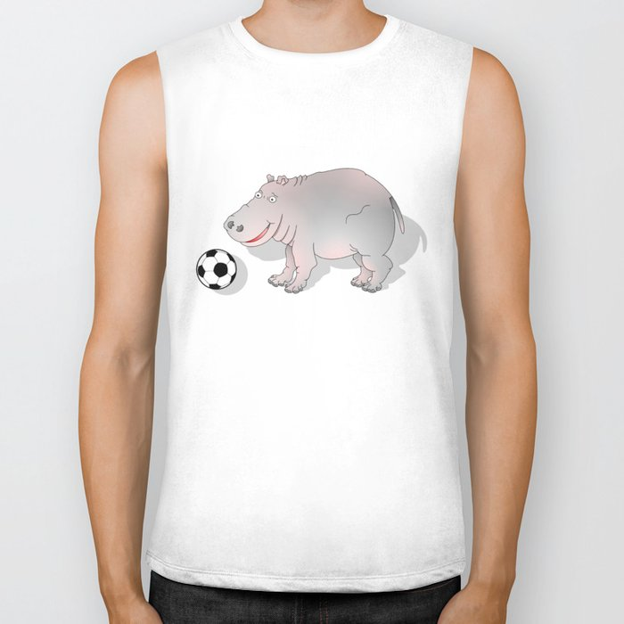 Hippo playing Football Biker Tank
