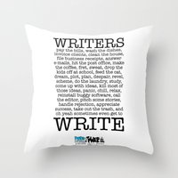 write Throw Pillows featuring WRITERS WRITE! by John Kovalic