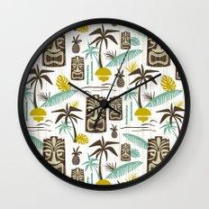 Island Tiki - White Wall Clock