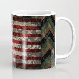 Green and Brown Military Digital Camo Pattern with American Flag Coffee Mug