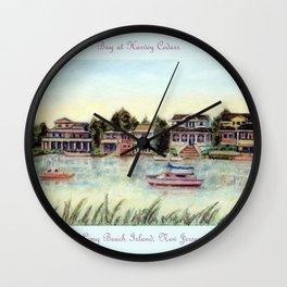 Bay at Harvey Cedars, Long Beach Island, New Jersey, Jersey Shore, fishing boats, Wall Clock