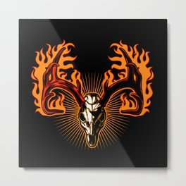 Deer skull on fire Metal Print