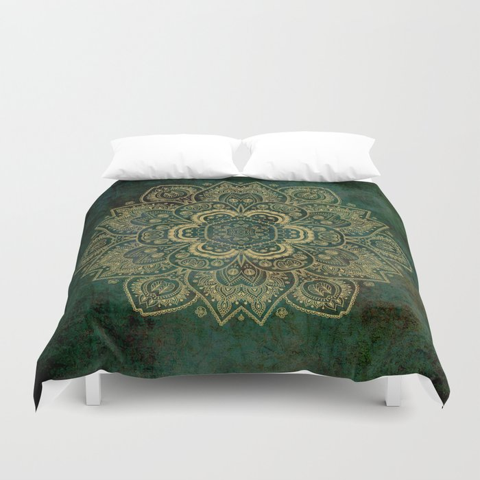 Golden Flower Mandala On Dark Green Duvet Cover