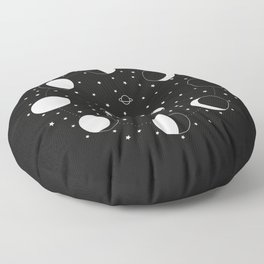Wonder If - Moon Phase Illustration Floor Pillow