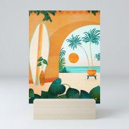 Seaside Surf Retreat Tropical Landscape / Villa Series Mini Art Print