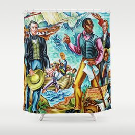 """African American Classical Masterpiece """"The Repatriation of the Freed Captives"""" by Hale Woodruff Shower Curtain"""