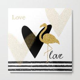 Love Flamingo Metal Print