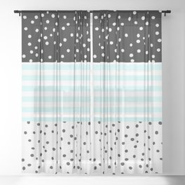 Modern black white teal stripes watercolor polka dots Sheer Curtain