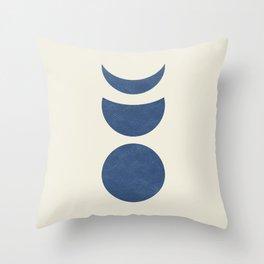 Lunar Phase - Blue Throw Pillow