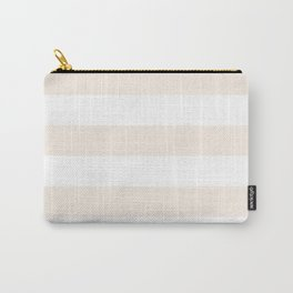 Horizontal Stripes - White and Linen Carry-All Pouch