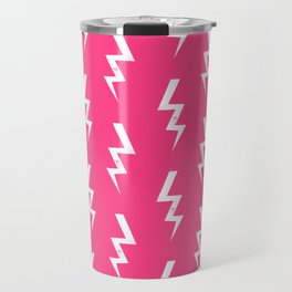 Bolts lightening bolt pattern pink and white minimal cute patterned gifts Travel Mug