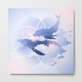 Pastel Whales Metal Print