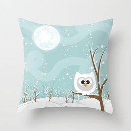 Arctic Owl Throw Pillow