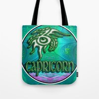 astrology Tote Bags featuring Capricorn Zodiac Sign Astrology by CAP Artwork & Design
