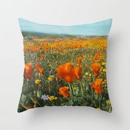 California Wildflower Poppy Superbloom Throw Pillow
