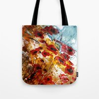 poppies Tote Bags featuring Poppies by James Peart