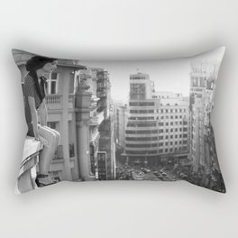 Woman on High, female form cityscape black and white photograph / photography Rectangular Pillow