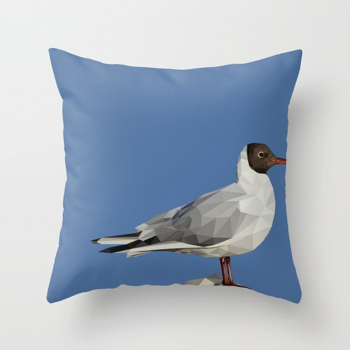 Black-headed gull - Low poly digital art Throw Pillow